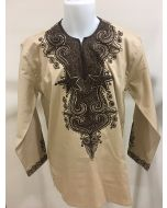 Men's African Print long Sleeve Dashiki Shirt - EMBROIDERED