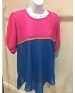Chevron Top - Blue and Pink