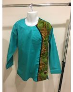 Men's Dashiki African Long Sleeves Polish Cotton Shirt - Green