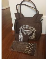 Purse with Matching Wallet & Scarf - Brown