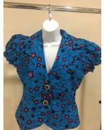 Elegant African Wax Print Short Sleeves Blazer for Women - Blue