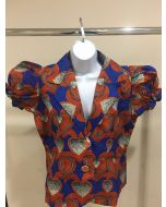 Elegant African Wax Print Short Sleeves Blazer for Women