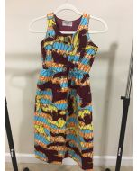 Elegant African Wax Print Sleeveless Dress Dashiki Length up to the Knees - Multi
