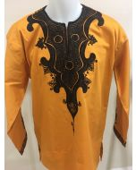 Dark Yellow Men's African Print Long Sleeve Slim Fit Dashiki Shirt - EMBROIDERED