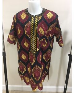 Dark Brown Men's African Print Short Sleeve Lace Shirt & Pant with front embroidered design