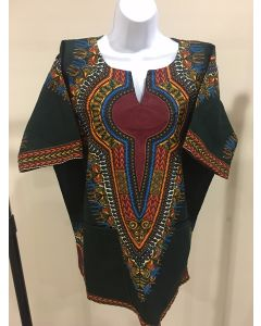 African Wax Print Dashiki Shirt /Blouse - Green