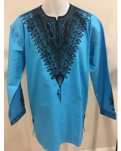 Sea Blue Men's African Print Long Sleeve Slim Fit Dashiki Shirt - EMBROIDERED